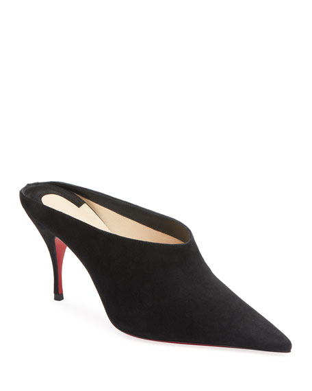 Image 1 of 1: Quart Pointed-Toe Red Sole Mules