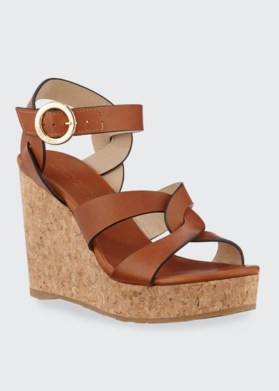 Aleili Vachetta Leather Cork Wedge Sandals