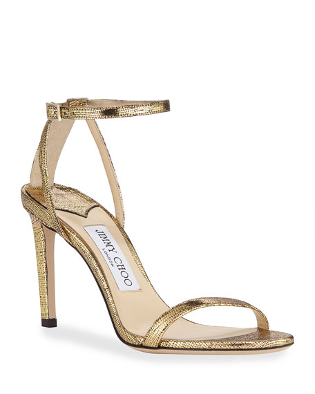 Metallic Textured Ankle Sandals