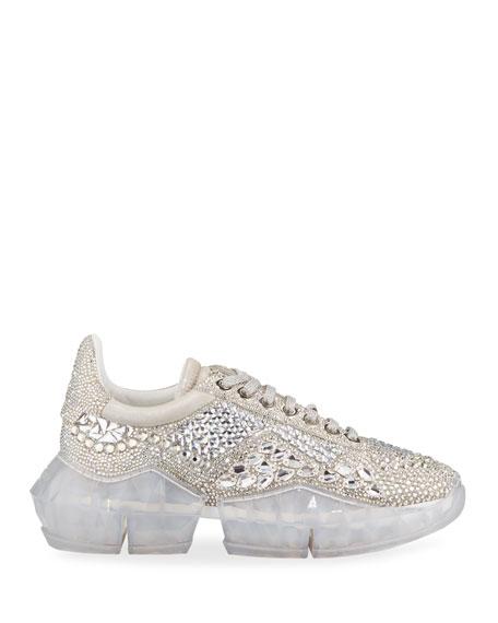 Diamond Crystal-Embellished Metallic Sneakers