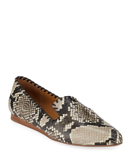 Griffin Python-Embossed Flat Loafers
