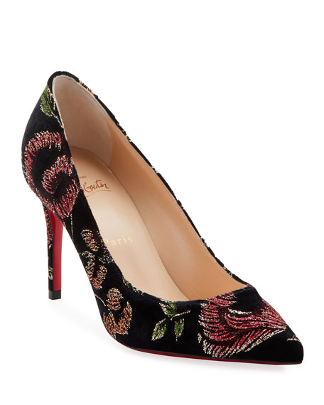 Kate Embroidered Red Sole Pumps
