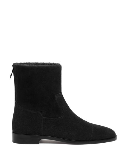 Suede and Shearling Biker Booties