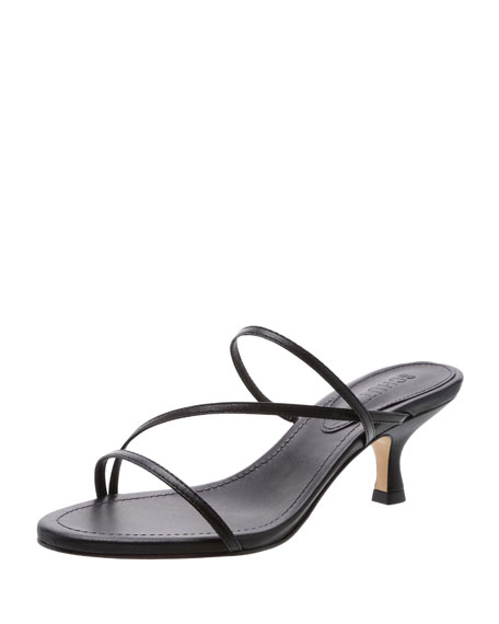 Evenise Strappy Kitten-Heel Leather Sandals