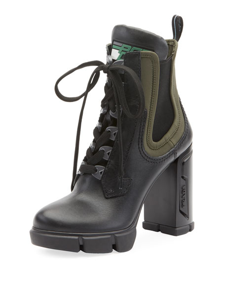 Image 1 of 1: Leather/Stretch Lace-Up Combat Booties