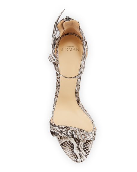 Asymmetric Clarita Python Ankle-Strap Sandals