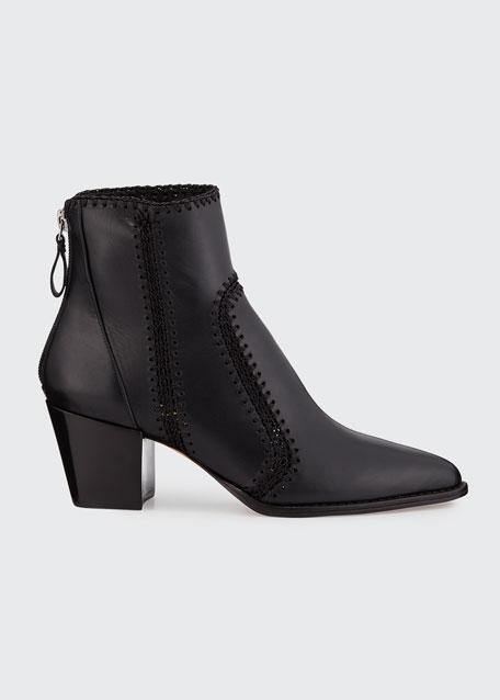 Benta Stitched Leather Block-Heel Booties