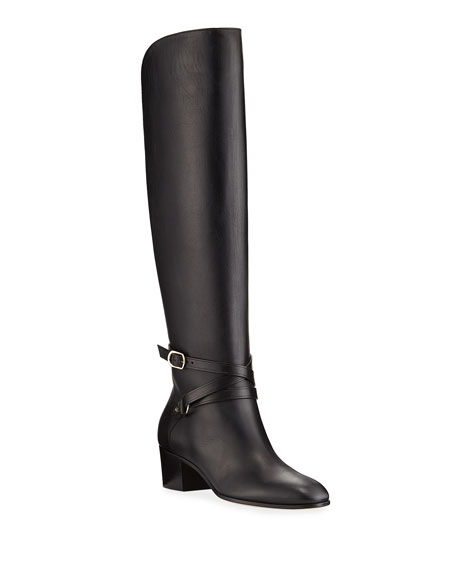 Huxlie Smooth Leather Knee Boots