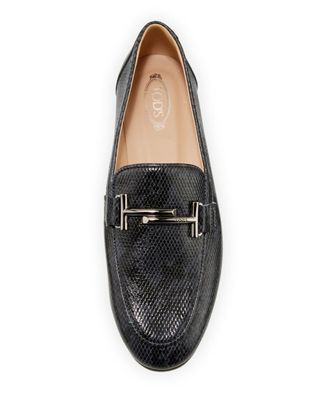 Double T Python-Embossed Loafers