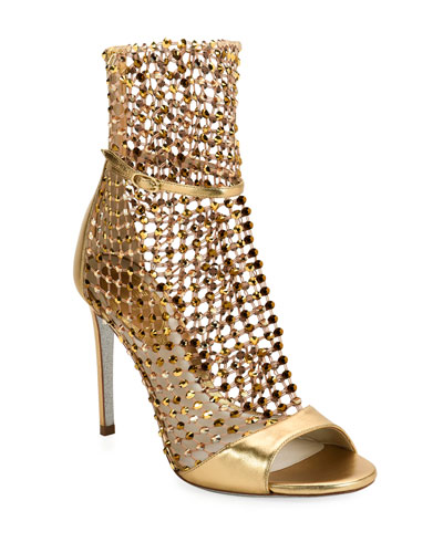 Metallic Crystal Mesh Caged Sandals
