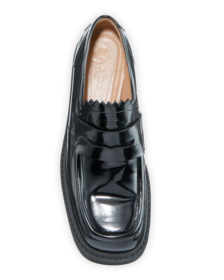 Patent Penny Platform Loafers