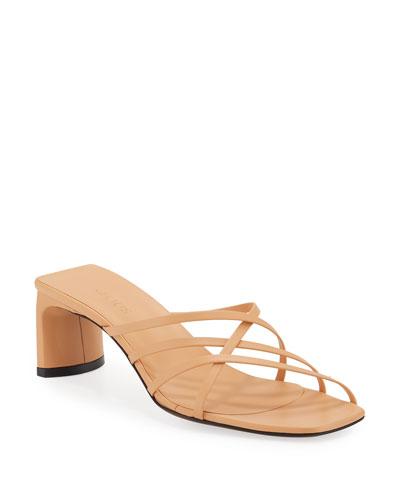 Mannia Slide Crisscross Sandals  Beige