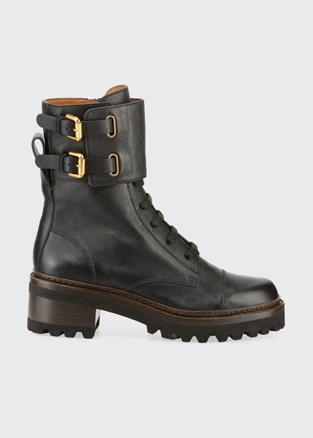 Leather Buckle Combat Boots