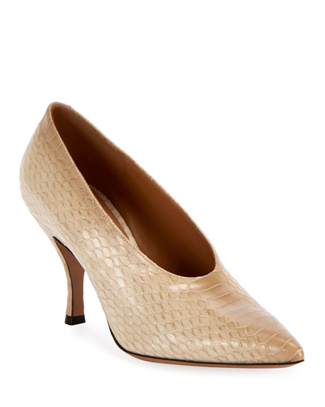 Image 1 of 1: Pointed Python-Embossed Pumps