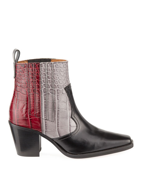 TriColor Croc-Embossed Leather Western Boots