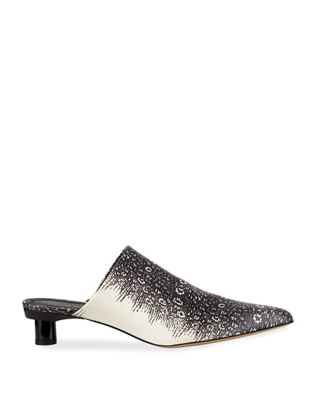 Juan Lizard-Embossed Leather Mules