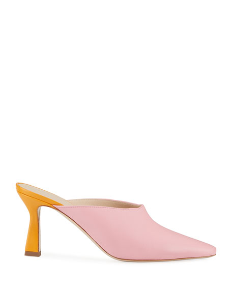 Lotte Mid-Heel Leather Mules