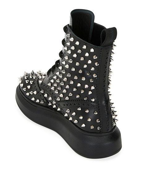 High-Top Spike Leather Boots
