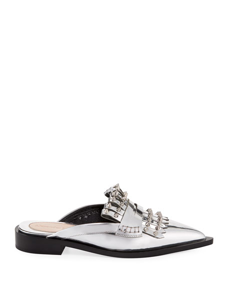 Metallic Studded Flat Mule Loafers