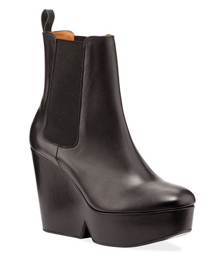 Image 1 of 1: Beatrice Leather Platform Chelsea Booties