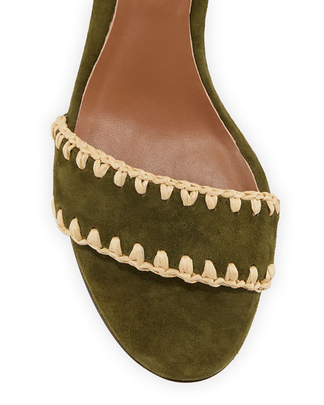 Leticia Whipstitched Suede Ankle-Wrap Sandals, Olive