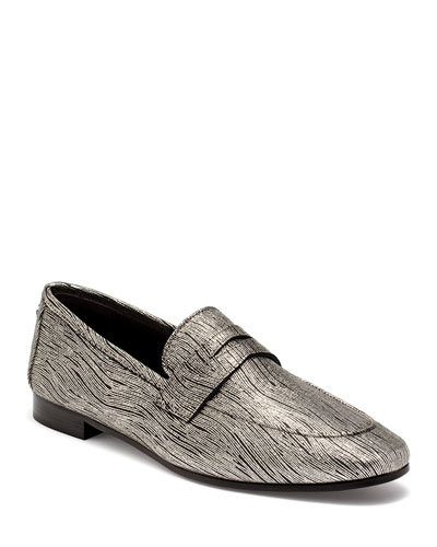 Wave Metallic Leather Loafers