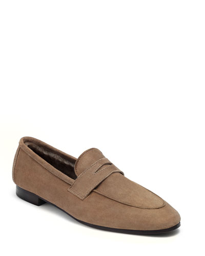 Suede and Shearling Penny Loafers