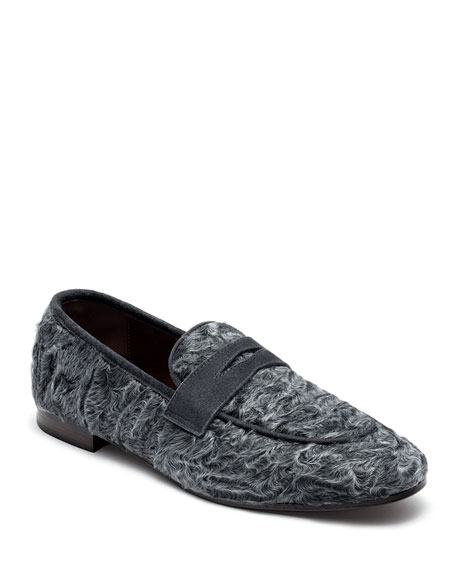 Swakara and Suede Loafers