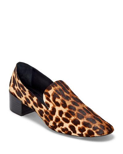 Tillie Leather Block-Heel Loafers