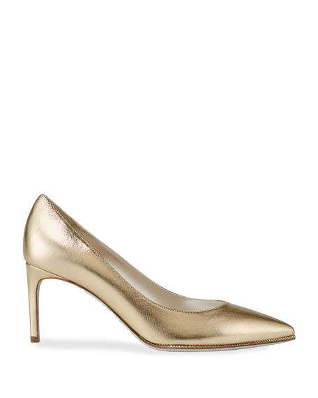 Grace Metallic Leather Pumps, Gold