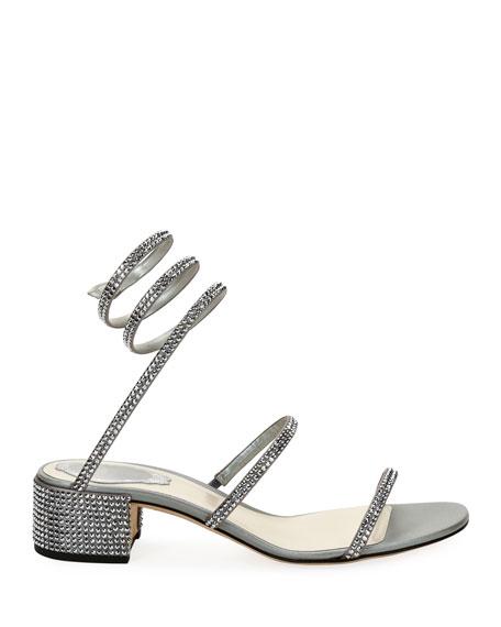 Crystal Snake 40mm Sandals, Silver