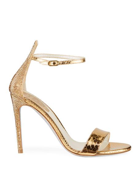 Metallic Python-Print Crystal Sandals