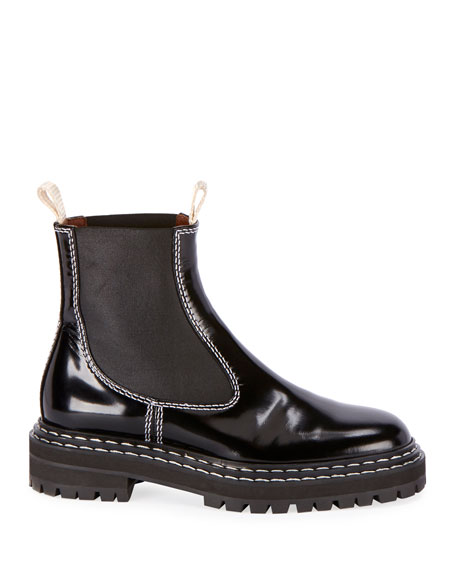 Leather Gored Pull-On Booties