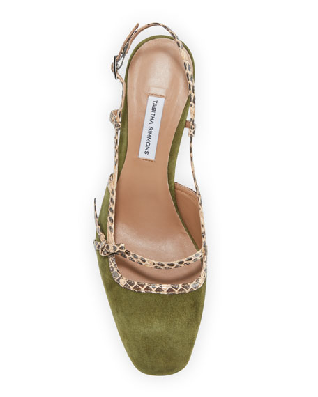 Donnie Suede & Snakeskin Bow Pumps, Olive
