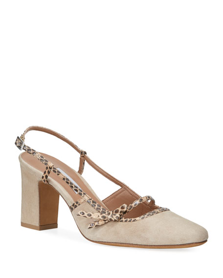 Image 1 of 1: Donnie Suede & Snakeskin Bow Pumps, Beige
