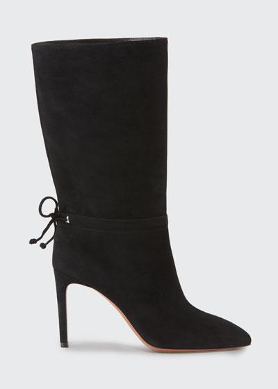 Suede Zip Mid-Calf Boots