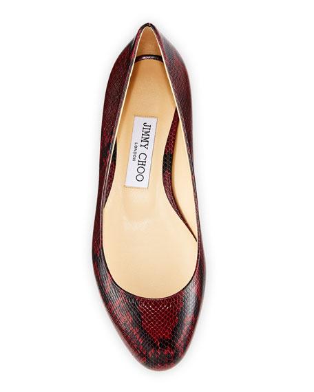 Jessie Snake-Print Leather Flats