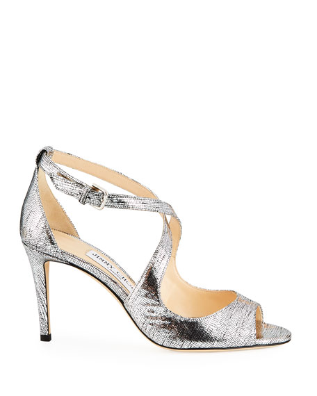 Emily Metallic Leather Peep-Toe Pumps