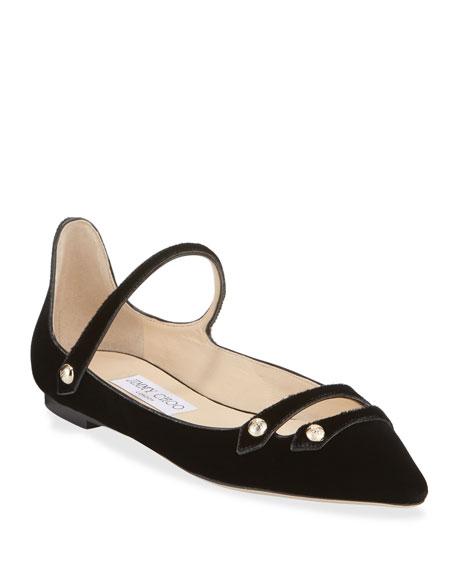 Layton Velvet Mary Jane Ballerina Flats