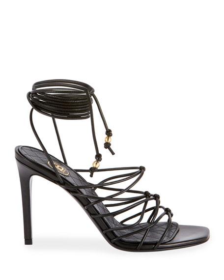 Mikki Leather Strappy Wrap Sandals