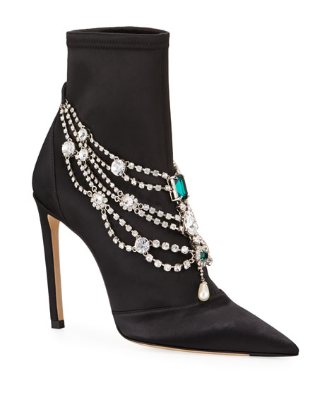Lyja Stretch Booties with Layered Crystal Anklet
