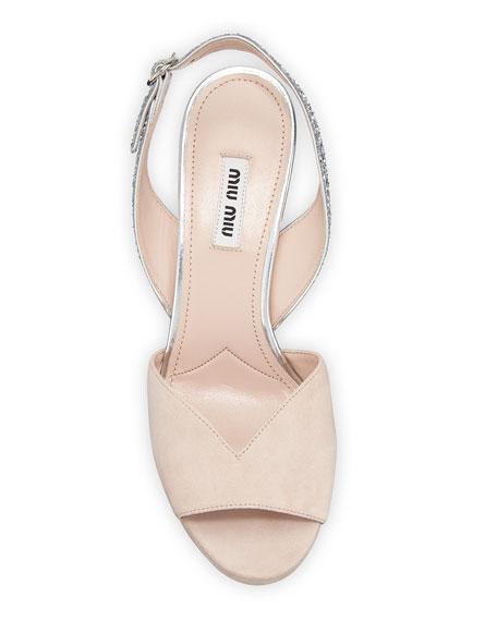 Suede Glitter Platform Slingback Sandals