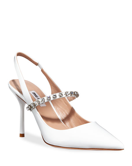 Image 1 of 1: Patent Crystal-Strap Slingback Pumps