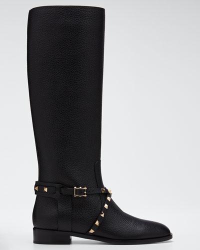 Rockstud Pebbled Knee Boots