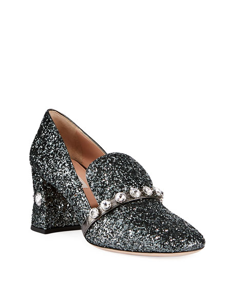 Image 1 of 1: Crystal Glitter Block-Heel Loafers