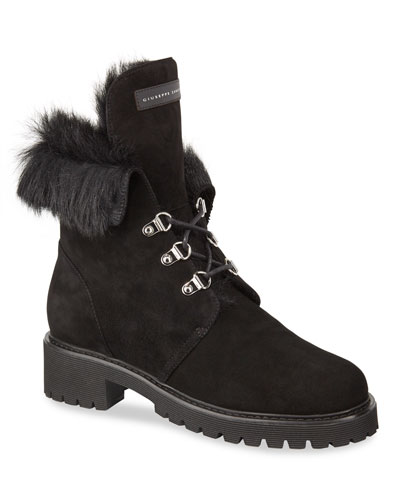 Fur-Lined Suede Lace-Up Boots