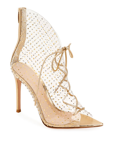 Plexi Crystal Lace-Up Booties