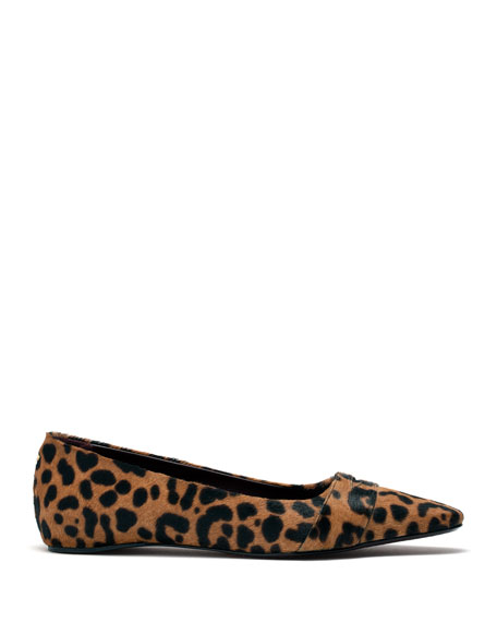 Leopard-Print Calf Hair Loafers