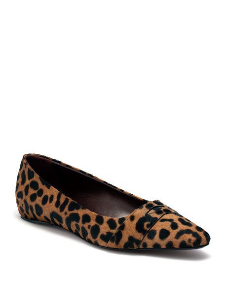 Image 1 of 1: Leopard-Print Calf Hair Loafers