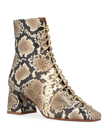 Becca Snake Print Laced Booties by By Far